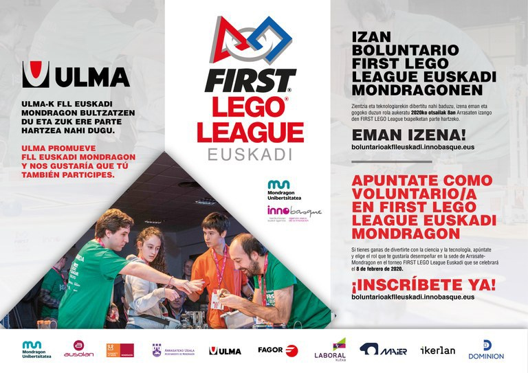 Sign up as a volunteer in the BASQUE COUNTRY-MONDRAGON FLL tournament