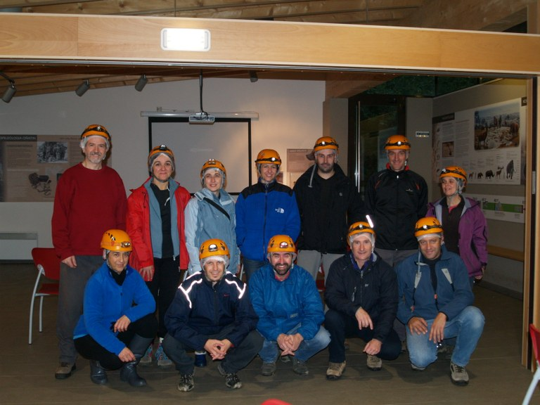 ULMA Basque language students and their Basque-speaking companions go caving in Arrikrutz to practice their Basque