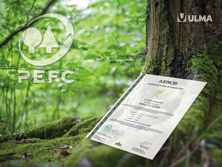 ULMA Construction is awarded the PEFC certificate in recognition of its commitment to the environment