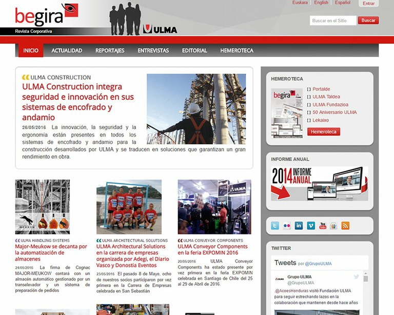 Begira OnLine, the latest at ULMA on the web and on your smartphone