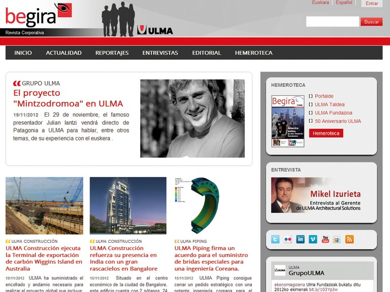 Grupo ULMA launches the OnLine version of its Begira Magazine