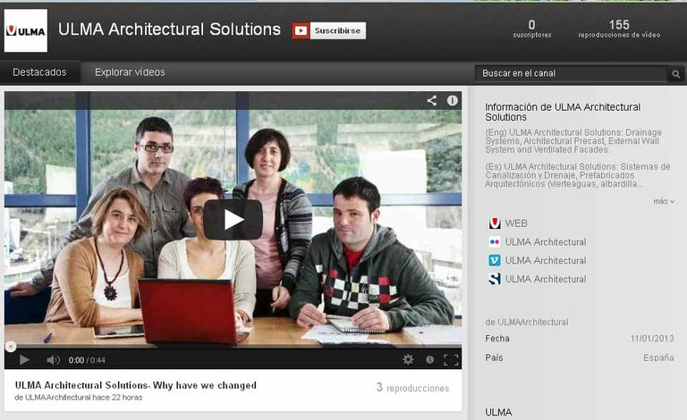 Nuevo canal de Youtube de ULMA Architectural Solutions
