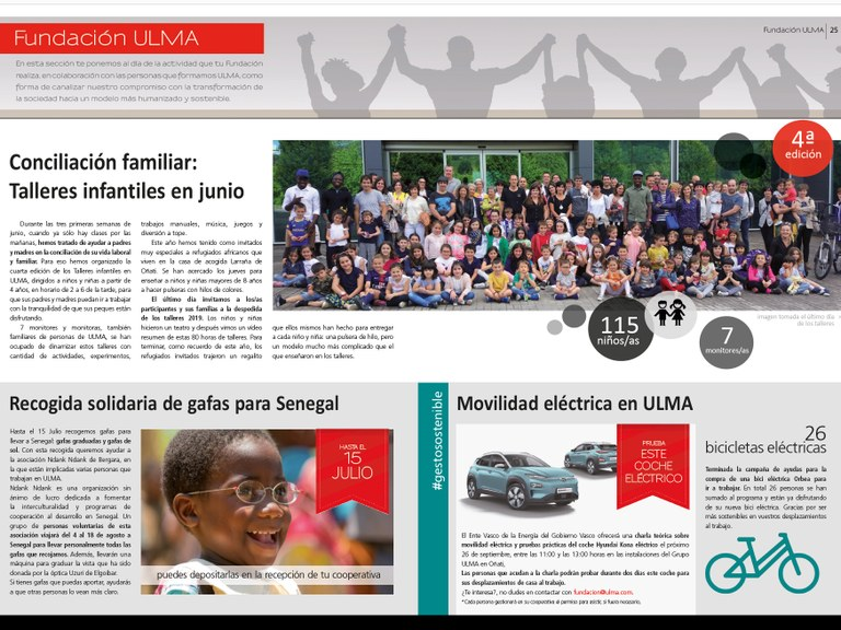 Children's workshops in June, Solidarity collection of eyeglasses for Senegal and Electric Mobility at ULMA